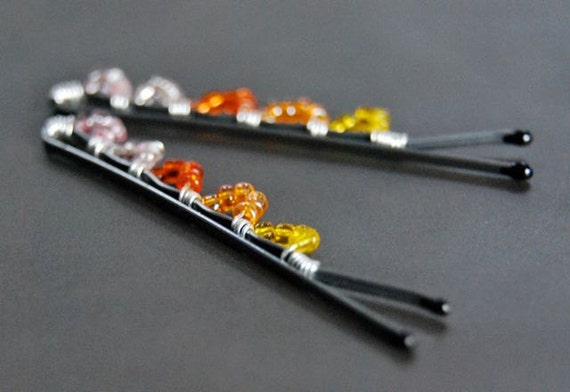 Bobby Pins, Sunburst,  Seed Bead, Wire Wrapped, Hair Accessory, Fashion, ON SALE 50% OFF