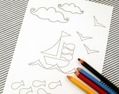 Printable colouring page - Nautical 3 sailboat, fish - downloadable PDF
