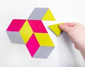 geoscape magnetic wall art - hot pink, yellow, grey OR custom made in your colours