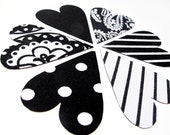 6 heart magnets - graphic black & white