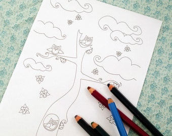 Printable colouring page - Tree, owls, ladybugs, snowflakes - Winter 3 - downloadable PDF