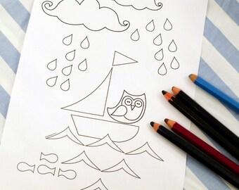 Printable colouring page - Nautical 4 sailboat, rainclouds, owl - downloadable PDF