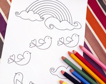Printable colouring page - lovebirds, rainbow, clouds - downloadable PDF