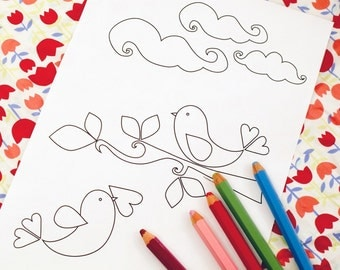 Printable colouring page - lovebirds 3 - downloadable PDF