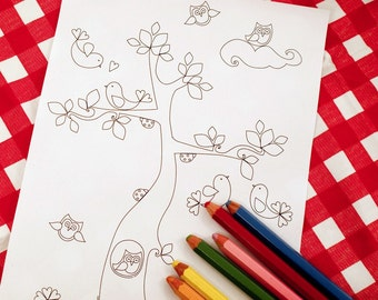 Printable colouring page - Tree, owls, lovebirds, flowers, leaves - Summer 1 - downloadable PDF