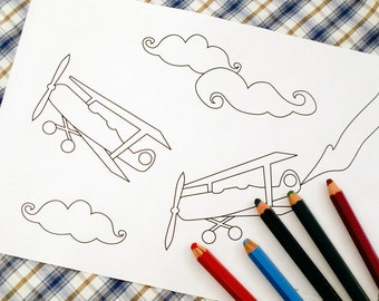 Printable colouring page - Vintage airplanes, clouds 2 - downloadable PDF