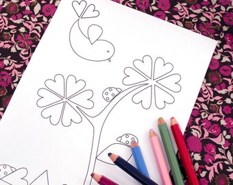 Printable colouring page - flower and ladybugs 1 - downloadable PDF