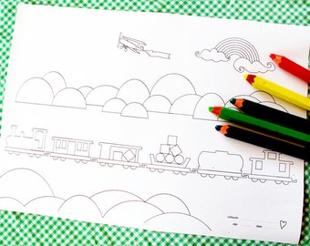 Printable colouring page - train 1 over the hills and far away - downloadable PDF