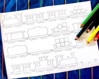 Printable colouring page - train 2, various carriages - downloadable PDF