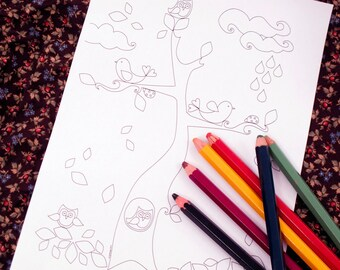 Printable colouring page - Tree, owls, lovebirds, flowers, leaves - Autumn 2 - downloadable PDF