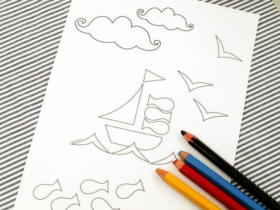 Printable colouring page - Nautical 3 sailboat, fish - downloadable PDF