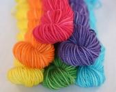 Wool Sock Yarn - Superwash Merino - Mini Skeins - Fuschia, Orange, Yellow, Green, Aqua, Purple