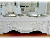 Chic n Shabby wooden Raised Pet Feeder For Small Dog & Cat