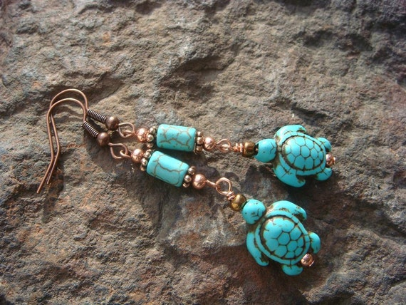Turquoise Sea Turtle with Copper Accents - Dangly Earrings - Tropical Feel