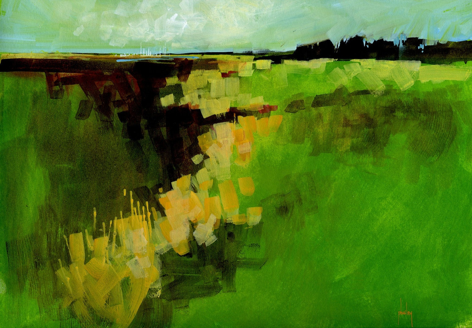 Abstract Landscape Paintings : Original landscape painting semi-abstract by PaulBaileyArt