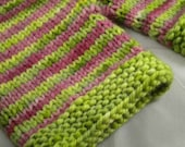 ON SALE - Cranberry and Lime Striped Wool Shorties, 9-12 Months