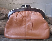 vintage leather snap clasp clutch - vintage