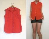 red sleeveless blouse - vintage