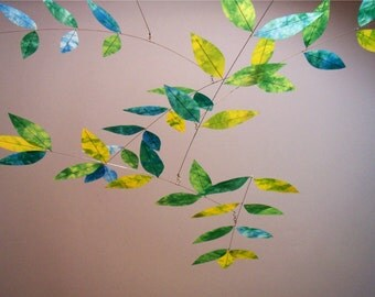 Art Mobile Hand Dyed Dappled Leaf Mobile in Yellow Green Turquoise