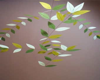 Tree Mobile Silk Leaves Pale Horizon Blues and Greens Hanging Home Decor