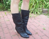 Black Leather Slouchy Fold Over High Heeled Boots Size 8 or 8.5