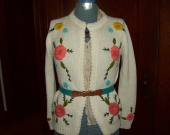Vintage Crewel Knit Flower Sweater