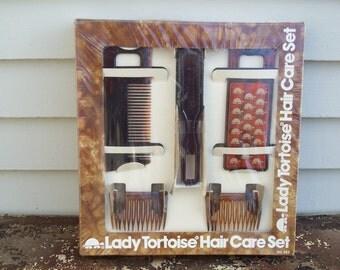 Deadstock Lady Tortoise Hair Care Set / Hair Combs / Brush / Mirror / Gift Set