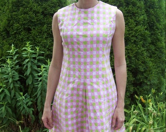 Mod Pink And Green Chekered Scooter Dress By Joan Leslie