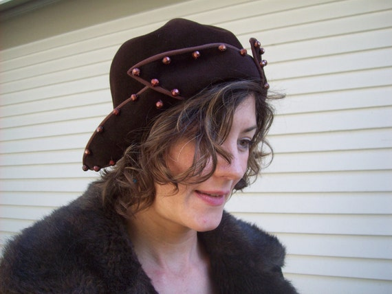 Old Hollywood Glam Brown Felt Hat