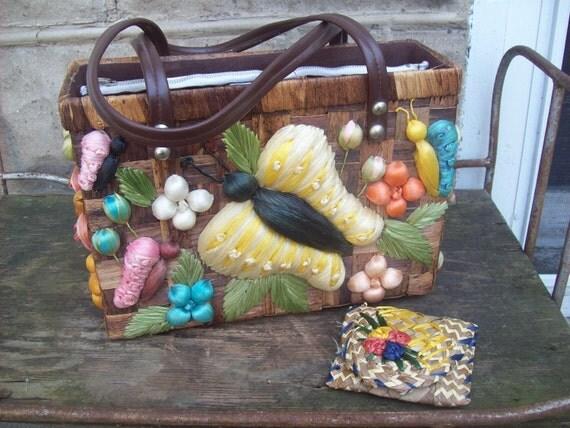 Tropical Straw Basket Handbag With Coin Purse