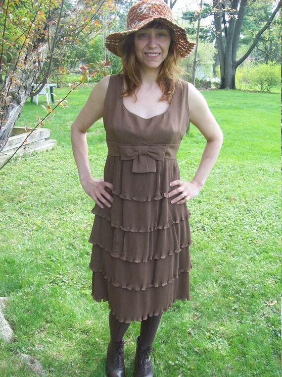 Sleeveless Chiffon Chocolate Ruffle Layer Cake Dress / Kentucky Derby Dress