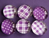 Glass Magnets - Pebble - Marble - Purple - Plaid - Checks - Dots - Set of 6 - Refrigerator Magnets - Memo Board - Gift