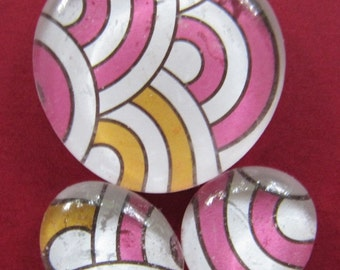 GlassPebble Magnets - Pink-White Swrils - Set of 3 - Pink - Yellow - Kitchen Magnets - Office Magnets