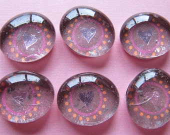 Glass Pebble Magnet - Pink Hearts - Valentine - Set of 6 - Holiday - Seasonal - Valentines Day - Love - Gift