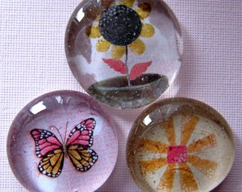Glass Magnets - Pebble - Marble -Spring - Flowers - Butterfly  - Garden - Gardening - Set of 3 - Rerigerator Magnets - Gift