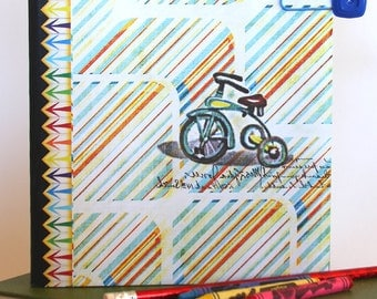Journal - Decorated Composition Notebook - Travel Notebook - Personal Diary - Kids Diary - Altered - Tricycle - Red - Blue - Primary Colors
