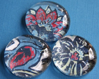 Glass Magnets - Pebble - Marble - Blue - Red - White - Paisley - Set of 3 - Refrigerator Magnets - Memo Board - Gift