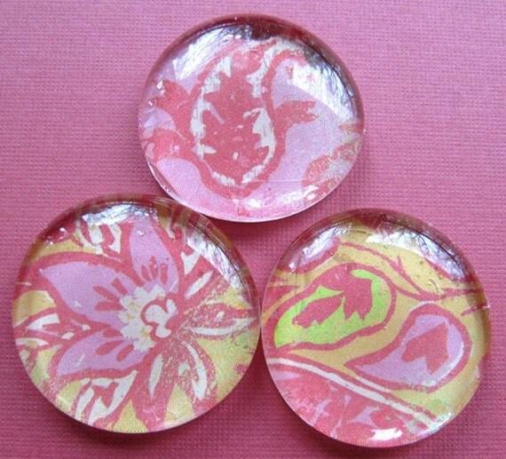 Glass Pebble Magnets - Pink - Green - Gold - Flower Leaf print - Set of 3 - Kitchen Decor - Office - Memo Board - Refrigerator Magnets