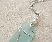 Beach Bride Blue Sea Glass Pendant