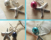 Starfish Bridesmaids Necklaces Beach wedding Bridesmaid Jewelry Teal Green Navy Blue Silver Purple and Magenta Hot Pink Any Color