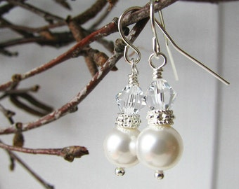 White Pearl Drops Bridesmaid Earrings Bridal Pearl Wedding Jewelry Bridesmaid Jewelry Wedding Bridal Crystal Earrings