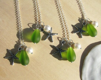 Bridesmaid Jewelry Lime Green Wedding Jewelry Starfish Necklaces Sea Glass Beach Wedding Destination Wedding