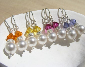 Bridesmaid Earrings Bridesmaid Jewelry in your Colors Pearl Earrings Wedding Jewelry