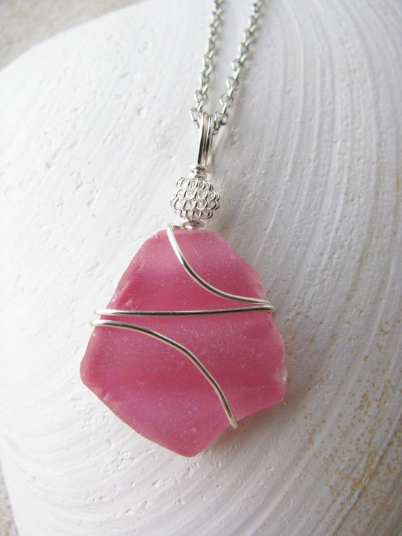 Pink Sea Glass Pendant Textured Beach Glass Necklace