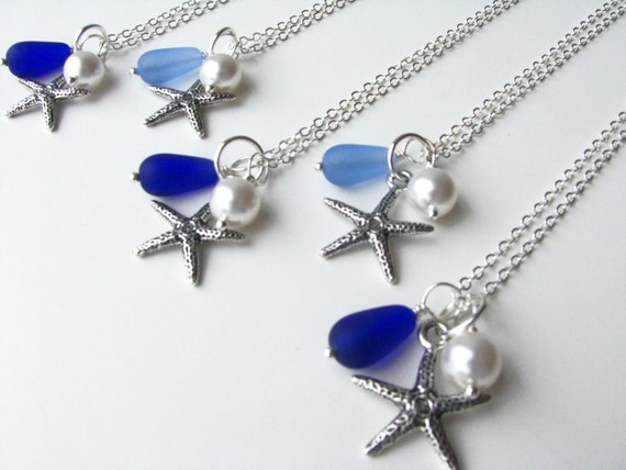 Bridesmaid Jewelry Starfish Necklaces Royal Blue Cornflower Something Blue Wedding Jewelry Blue Necklaces, Other colors available