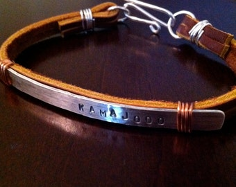 Sterling Silver Women's Custom Leather and Copper Bracelet.  Eco Friendly.  Stamped.  Personalized.