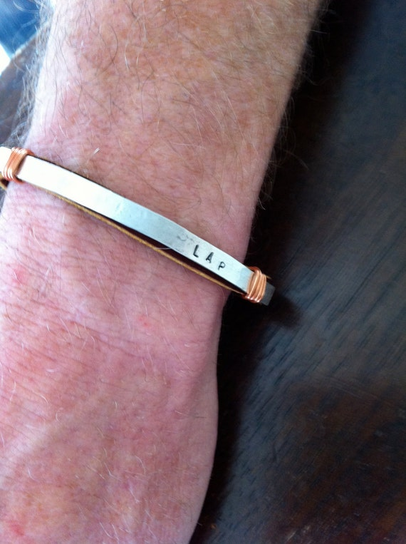 Say It Bracelet. Sterling Silver Men's Custom Leather and Copper Bracelet.  Eco Friendly.  Stamped.  Personalized.