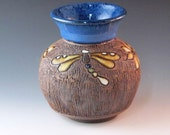Blue Bud Vase With Dragonflies And Flowers