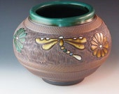 Beautiful Vase With Dragonflies, Flowers, Highly Textured With Various Tools