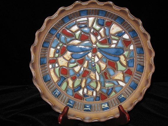 beautiful colorful mosaic dragonfly platter
